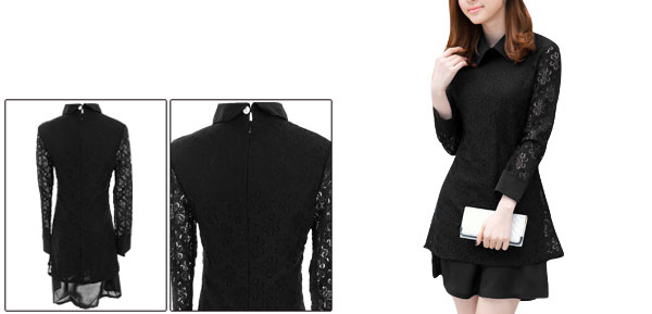 Lady Doll Collar Semi Sheer Long Sleeve Spliced Crochet Black Dress XS