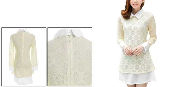 Lady Doll Collar Semi Sheer Long Sleeve Patchwork Crochet Beige Dress XS