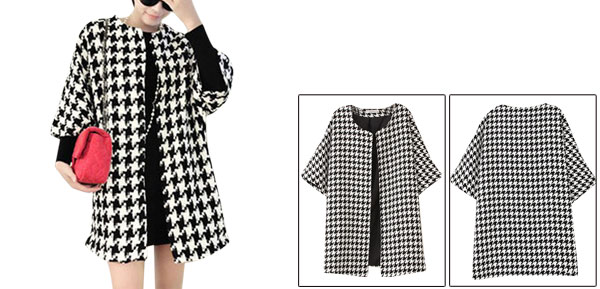 Women Front Opening  3/4 Batwing Sleeve Houndstooth Chic Peacoat White Black M