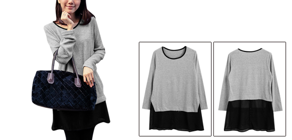 Women Round Neck Chiffon Splicing Fake Two Pieces Gray Tunic Shirt XS