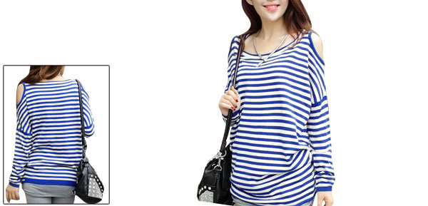 Lady Scoop Neck Long Sleeve Cut Out Stripes Blue White Tops XS