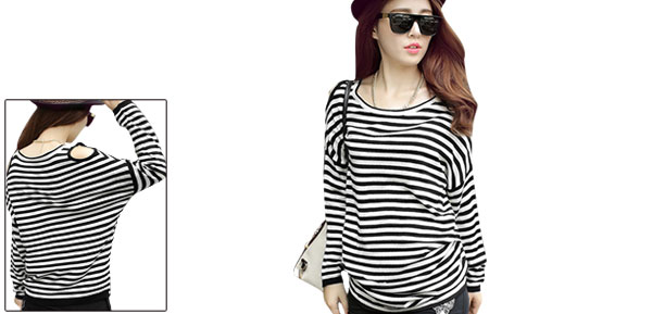 Lady Scoop Neck Long Sleeve Stripes Stretchy Black White Tops XS