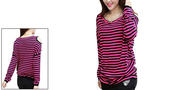 Lady Scoop Neck Long Sleeve Stripes Pullover Black Fuchsia Tops XS
