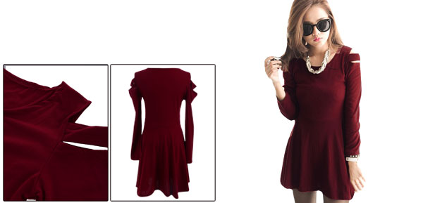 Women Scoop Neck Cutout Shoulder Long Sleeve Burgundy A-Line Mini Dress XS