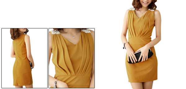 Women V-Neck Sleeveless Beads Decor Dark Orange Sheath Dress S