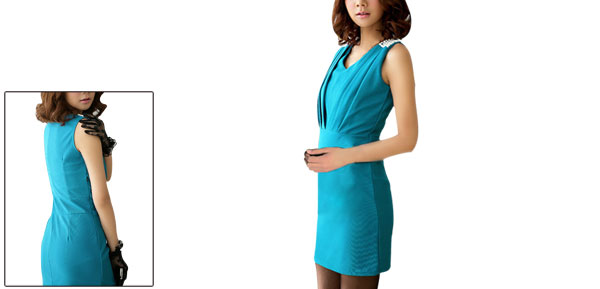 Ladies Ruched Detail Sleeveless Dark Turquoise Sheath Dress S