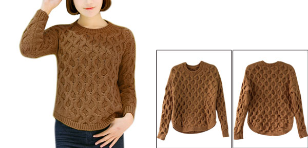 Women Round Neck Raglan Long Sleeve Round Hem Sweater Brown XS