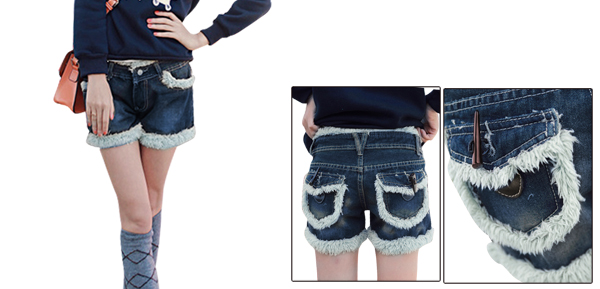 Lady Belt Loop One Button Front Zip Fly Dark Blue Denim Shorts  w Belt S