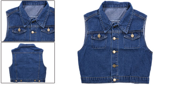 Lady Point Collar Button Front Dark Blue Cropped Denim Vest XS