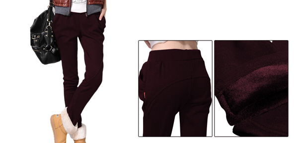 Dark Red Chic Women Double Slant Pockets Black Pants XS