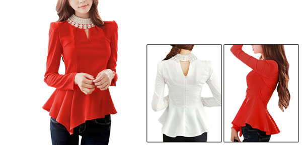 Women Beads Decor Stand Collar Cut Out Front Orange Red Peplum Top XS