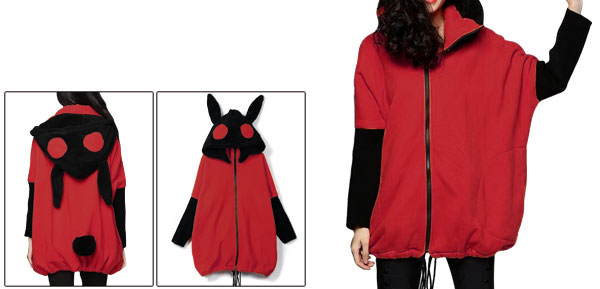 Red Lady Convertible Collar Fleece Lined Ribbed Sleeve Zip Up Hoodie M