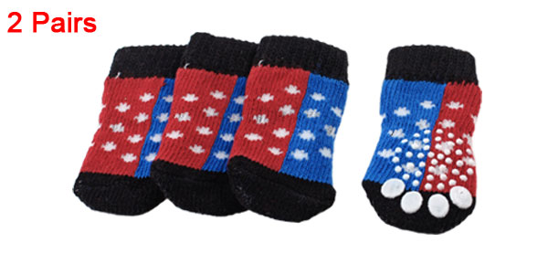 2 Pairs Red Blue Paw Pattern Elastic Cuff Nonslip Pet Dog Puppy Cat Socks