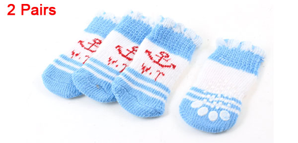 2 Pairs Light Blue Knitted Anchor Paw Pattern Elastic Pet Dog Cat Puppy Socks