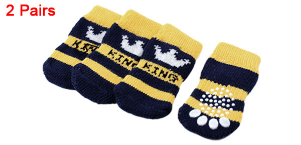 2 Pairs Navy Blue Yellow Crown Paw Pattern Elastic Cuff Pet Dog Cat Puppy Socks