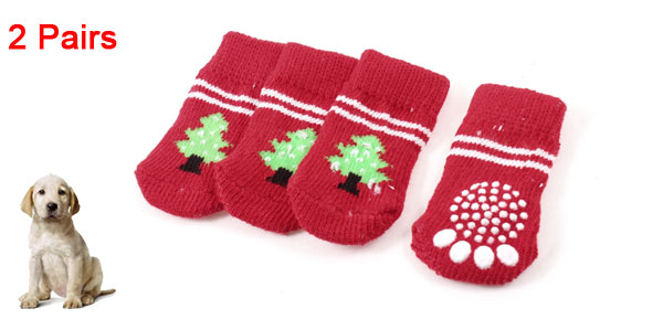 2 Pairs Red Green Tree Paw Pattern Knitted Nonslip Pet Dog Cat Yorkie Socks