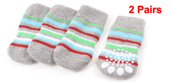 2 Pairs Gray Stripe Paw Printed Stretchy Cuff Hand Knit Pet Dog Cat Socks