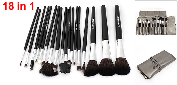 18 in 1 Blusher Brush Eyebrow Comb Cosmetic Tool Set w Gray Faux Leather Bag