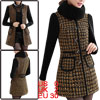 Women Round Neck Removerable Scarf Patchwork Splice Coat Orange Black XS
