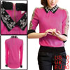 Pullover Doll Collar Long Sleeved Fuchsia Top Shirt for Lady XS
