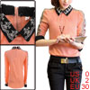 Woman Doll Collar Long Sleeve Embroidered Skull Panel Salmon Color Shirt XS