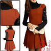 Women Short Sleeved Round Neck Orange Red Worsted Pleated Dress XS