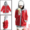 Lady New Fashion Long Sleeve Zip Up Autumn Red Light Gray Hoodie XS
