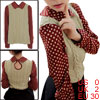 Lady Doll Collar Dots Prints Sleeve Beige Red Knit Top XS