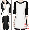 Women Round Neck Removable Collar Black White Straight Dress S