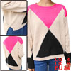 Women Pullover Raglan Sleeve Split Hem Autumn Sweater Beige Fuchsia S