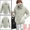 Lady Long-sleeved Snap Button Closure Khaki Reverible Padded Coat XS
