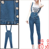 Women Dark Blue One Buttoned Back Patch Pockets Cropped Overalls XS