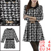 Lady Long Sleeved Metal Detail Collar Black White Dress w Belt S