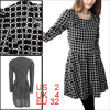 Women Long Sleeved Plaids Pattern Black Skater Dress XS