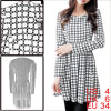 Women Pullover Geometric Prints White Skater Dress S