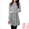 Women Long Sleeved Conceal Zipper Side White Skater Dress XS