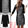 Women Boat Neck Long Sleeved Black Dark Gray Sheath Dress XS
