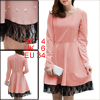 Women Round Neck Long Sleeved Lace Hem Pink A-Line Dress S