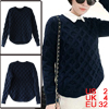 Women Round Neck Pullover Braided Design Sweater Navy Blue XS