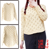 Women Pullover Raglan Long Sleeve Ribbed Cuffs Sweater Beige XS
