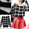 Lady Black White Long Sleeved Round Neck Check Pattern Pullover Sweater S