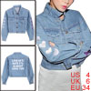 Light Blue Women Front Pockets Heart Embroidery Denim Jacket S