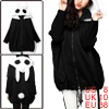 Women Black Batwing Fleece Lined Ribbed Sleeve Splice Zip Up Hoodie M