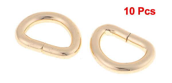 10 Pcs Copper Tone Metallic Strap D Ring for Handbag Belt Making