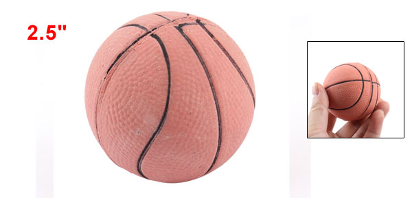 Brick Red Rubber Basketball Shaped Pet Dog Cat Training Ball Toy