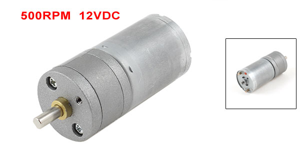 500RPM Output Speed Reducing 4mm Shaft Dia Gearbox Geared Motor 12VDC