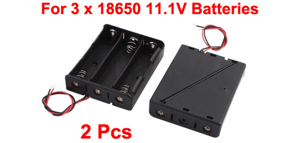 2 Pcs Black Plastic Battery Holder Case w Wire for 3 x 18650 11.1V Batteries