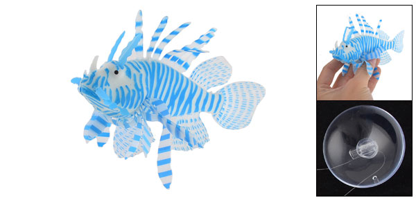 Blue White Soft Plastic Emulational Lionfish Ornament for Fish Tank