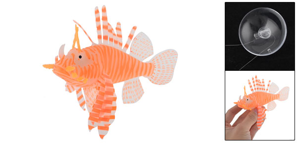 Orange White Soft Plastic Artificial Lionfish Decoration for Fish Tank