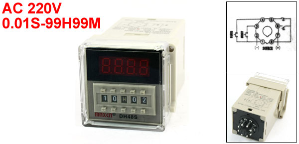 DH48S-1Z AC220V 0.01S-99H99M LED Display Digital Time Delay Relay
